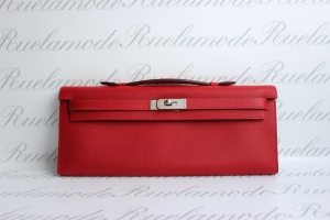 Hermes Kelly Cut Rouge Casaque PHW