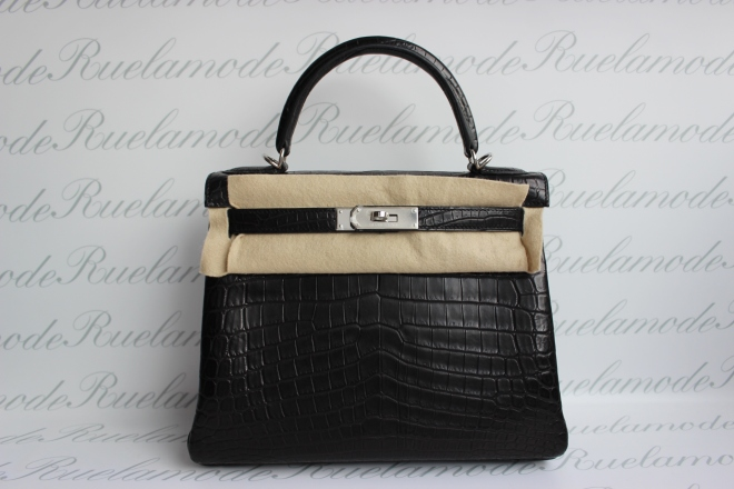 Hermes Kelly Black Croc Matte .JPG